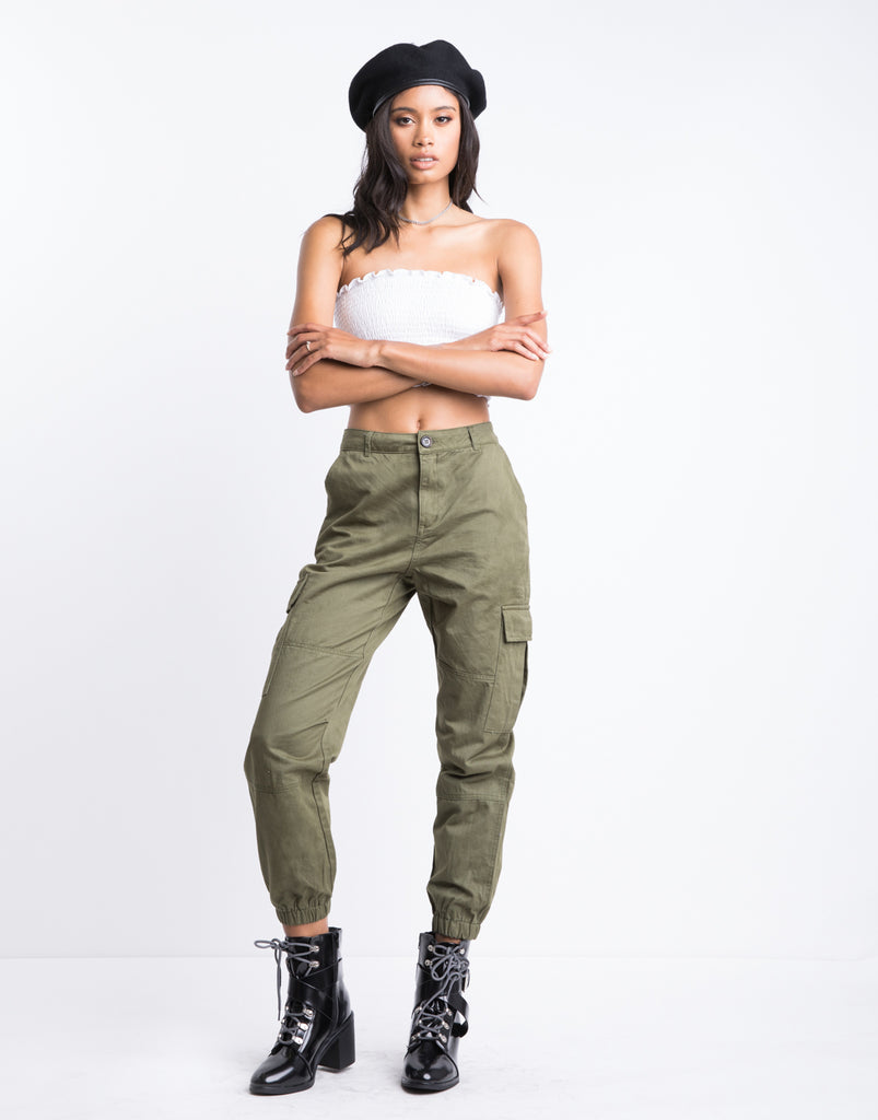Cargo Jogger Pants Bottoms Olive Small -2020AVE
