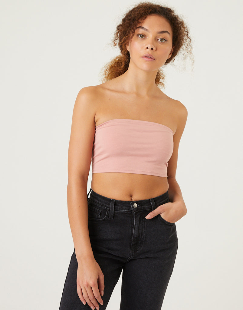 Carmen Lace-Up Bandeau Top Tops Desert Rose Small -2020AVE