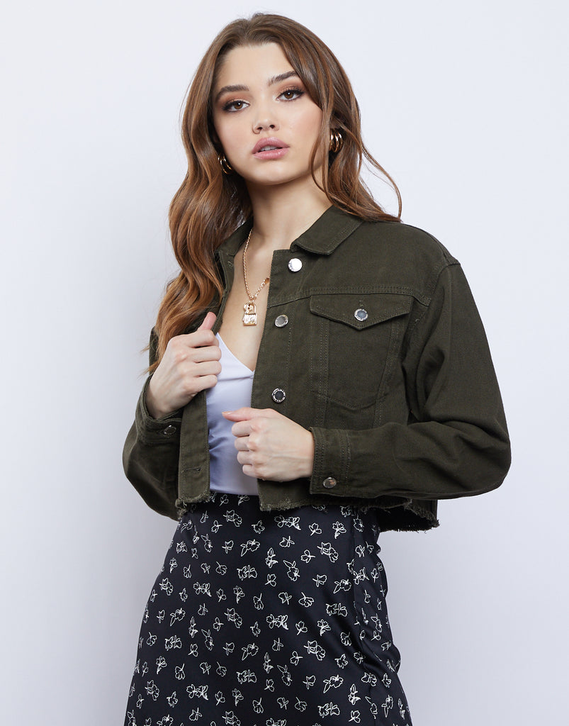 Caroline Cropped Denim Jacket Outerwear Olive Small -2020AVE