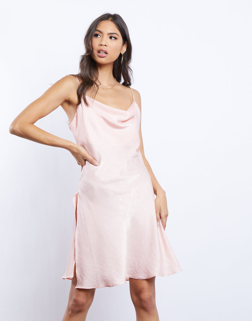 Cassandra Silky Cowl Neck Dress Dresses Pink Small -2020AVE