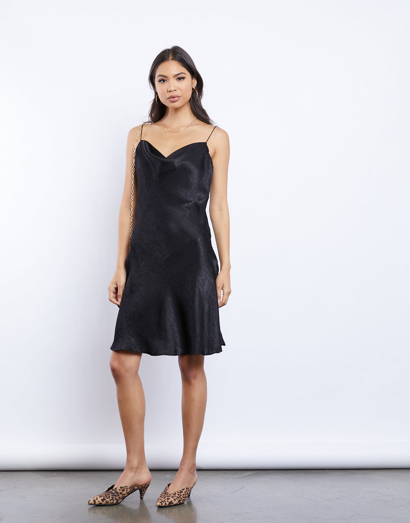 Cassandra Silky Cowl Neck Dress Dresses Black Small -2020AVE