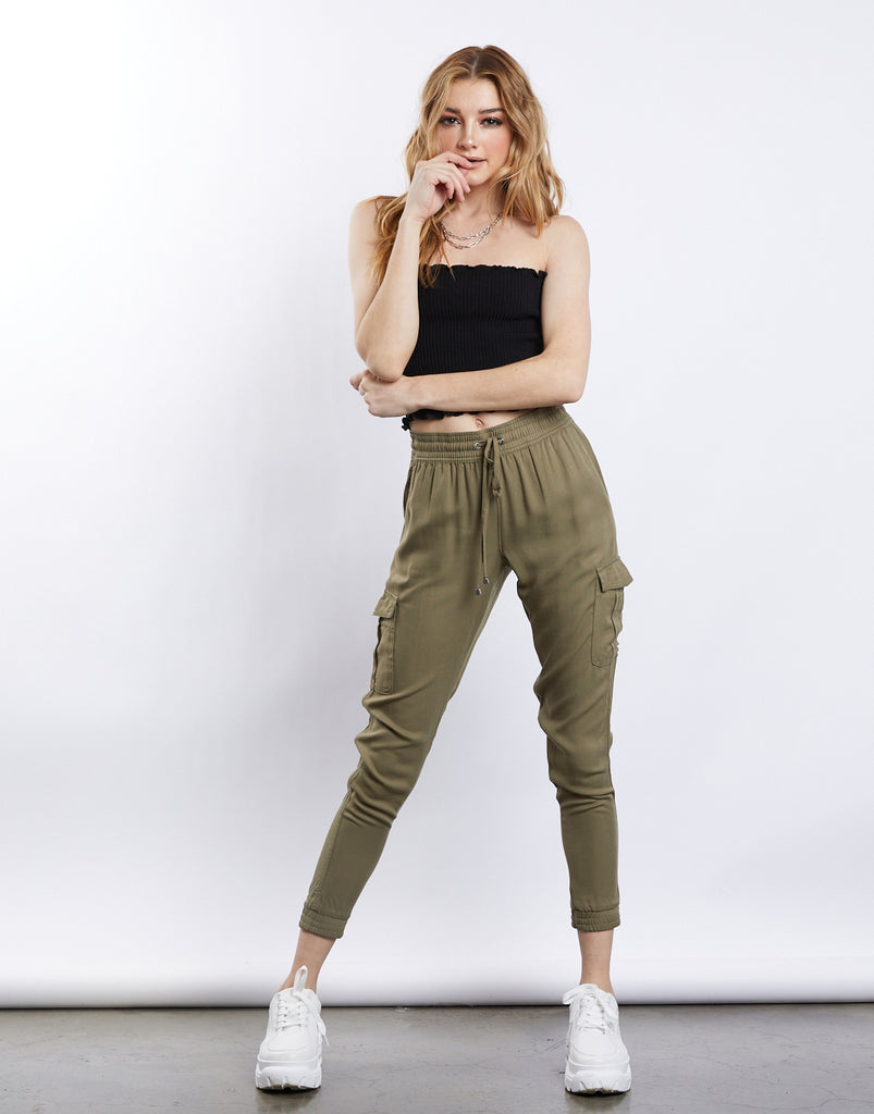 Cassie Cargo Joggers Bottoms Olive Small -2020AVE