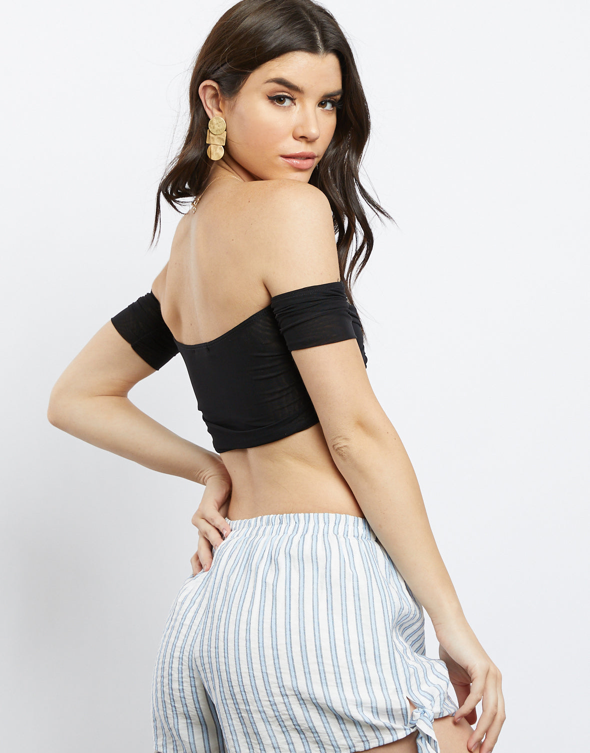 Cecile Mesh Off The Shoulder Crop Top