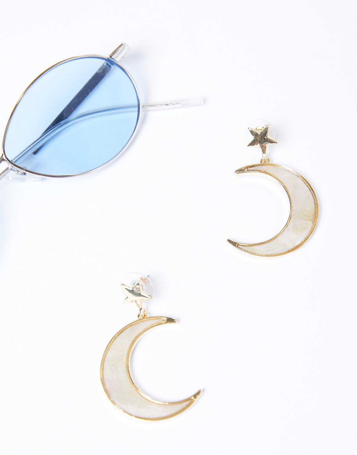 Celestial Iridescent Moon Earrings