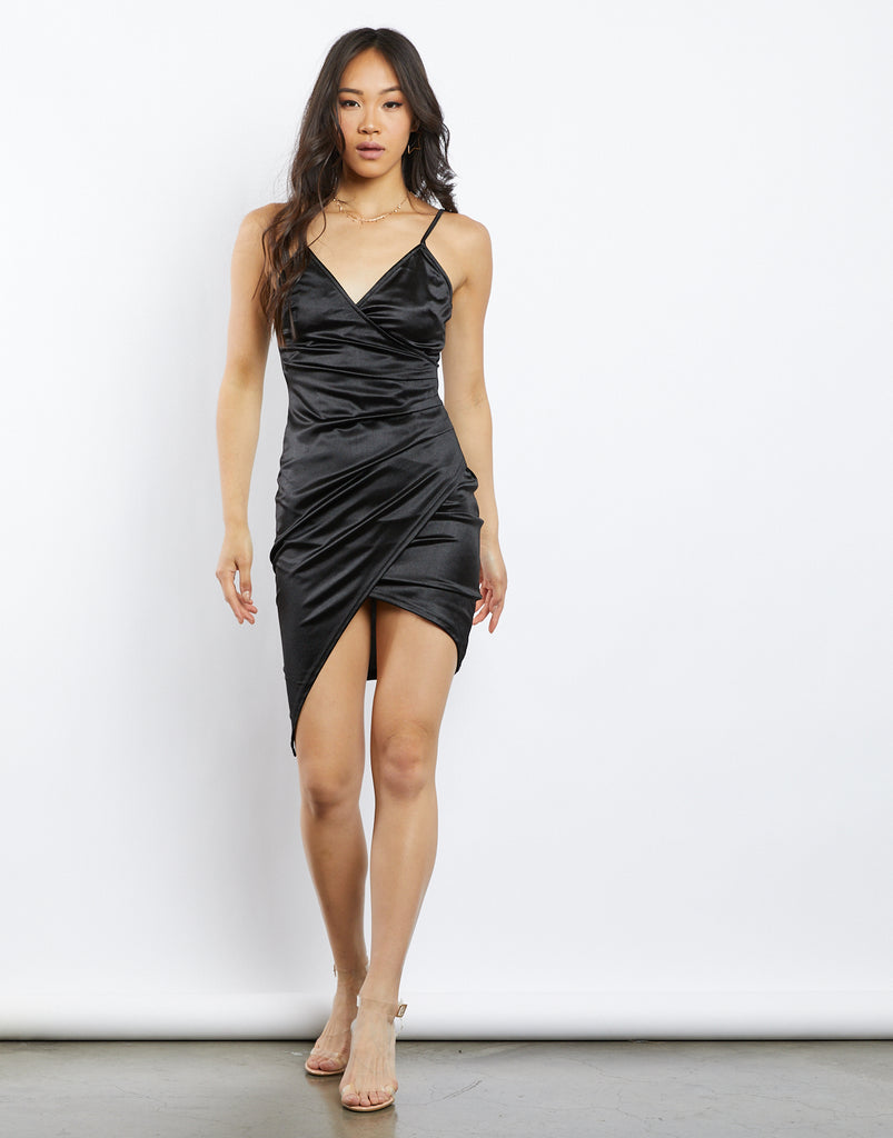 Charlotte Satin Wrap Dress Dresses Black Small -2020AVE