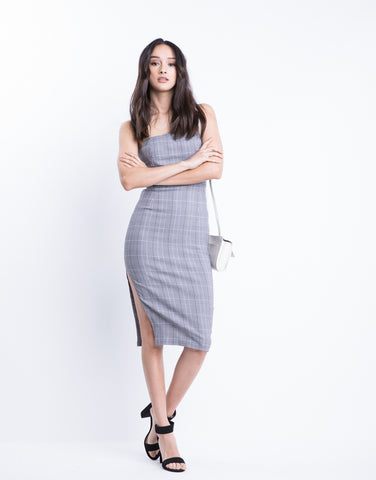 Christina Plaid Strapless Dress