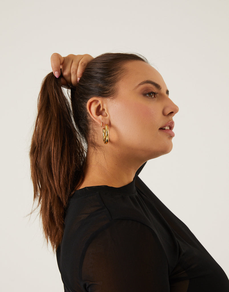 Classic Chunky Hoops Jewelry Gold One Size -2020AVE