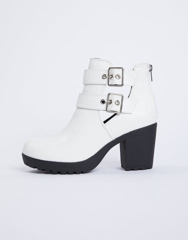 Color Contrast Double Buckle Booties