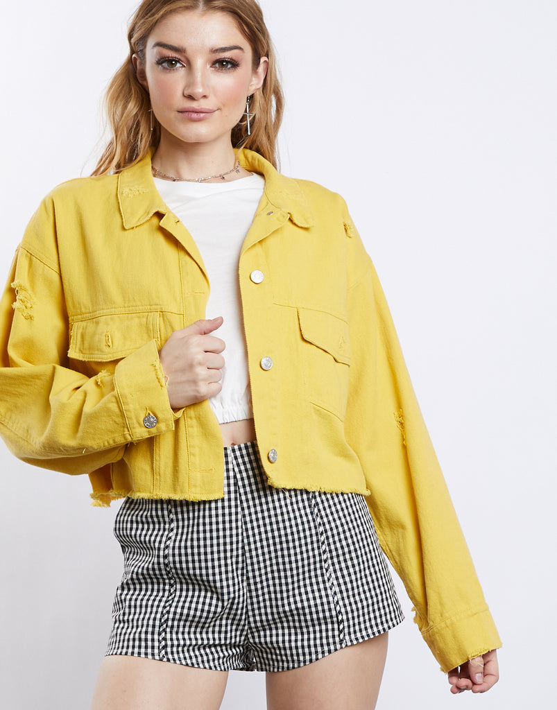 Color Pop Crop Denim Jacket Outerwear Yellow S/M -2020AVE