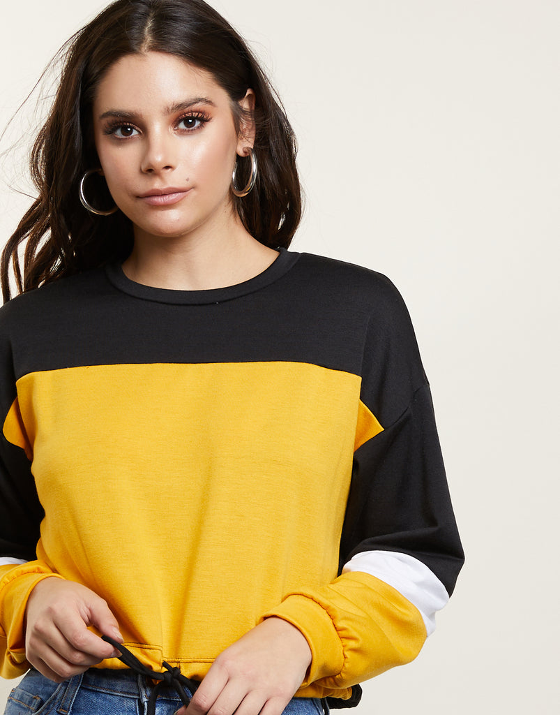 Colorblock Cropped Sweater Tops Mustard Small -2020AVE