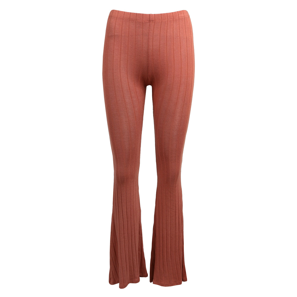 Comfy Ribbed Flare Pants Bottoms -2020AVE