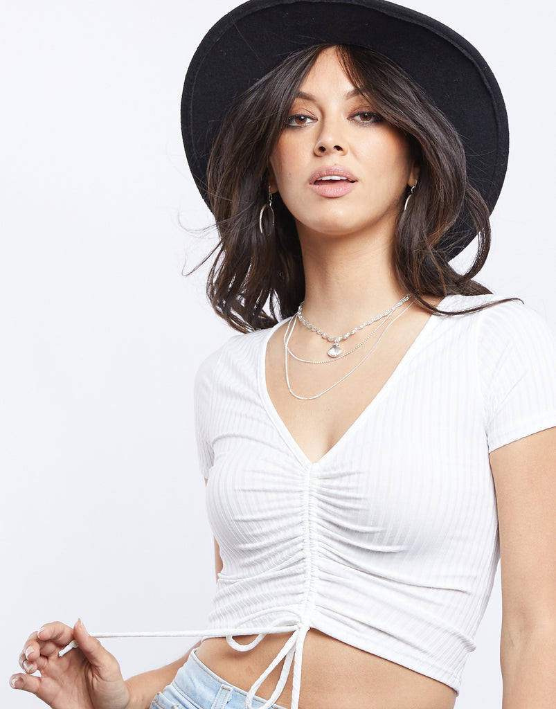 Cool Girl Scrunched Tee Tops -2020AVE