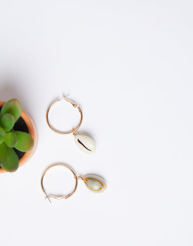 Cowrie Shell Hoop Earrings
