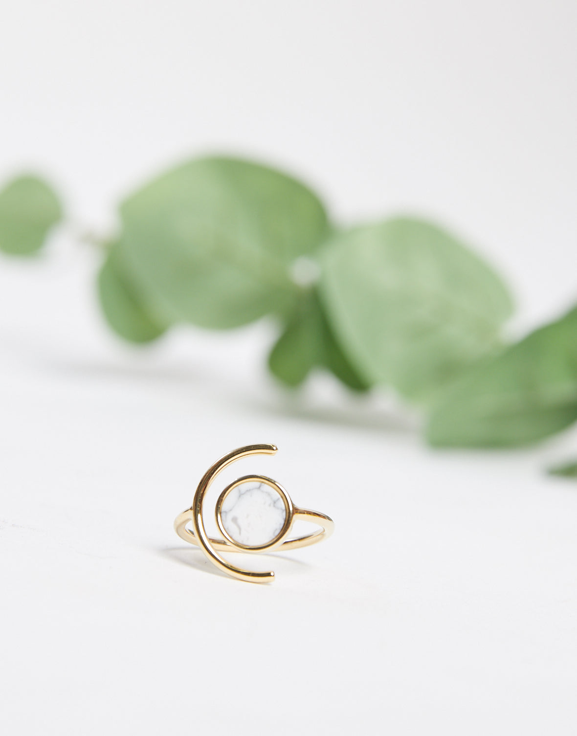 Crescent Stone Ring