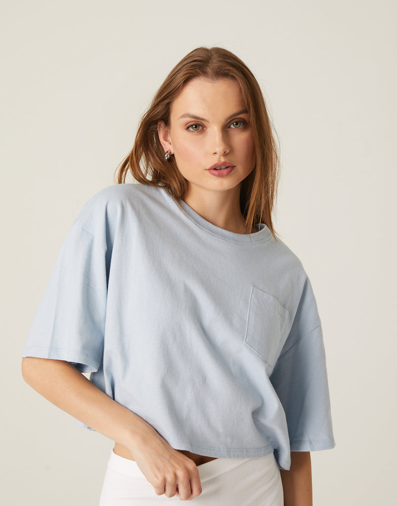 Cropped Boxy Pocket Tee Tops -2020AVE