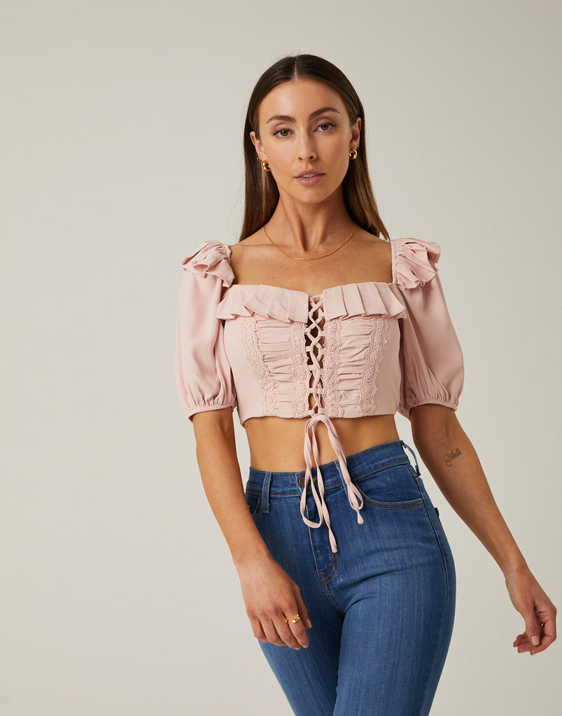 Cropped Laced Down Top Tops -2020AVE