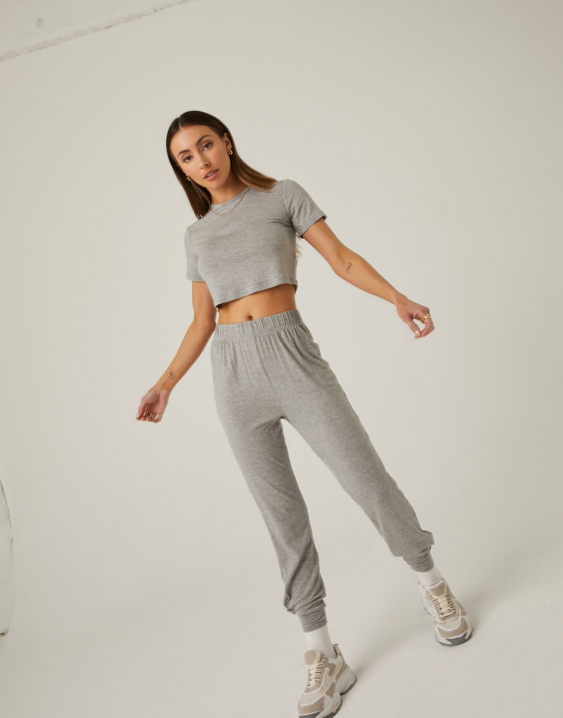 Cropped Tee and Joggers Set Matching Sets Heather Gray Small -2020AVE