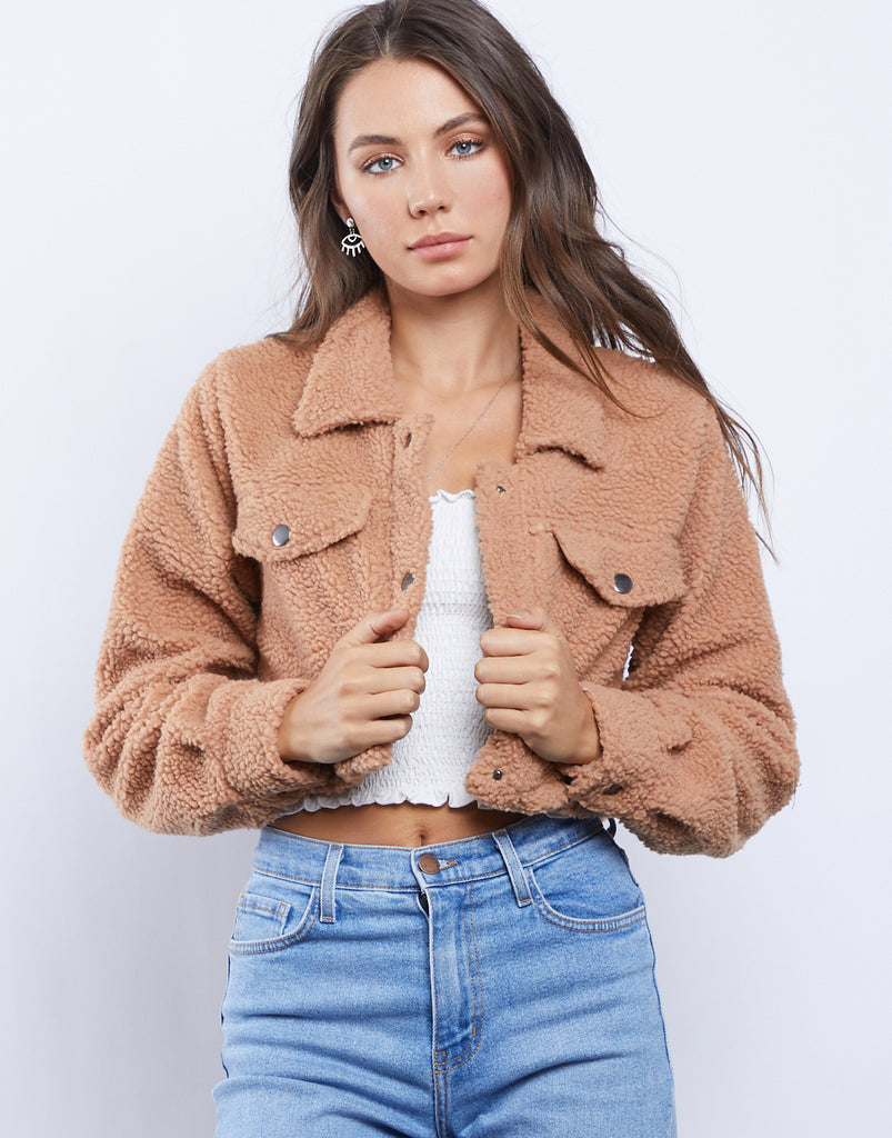 Cropped Button Up Sherpa Coat Outerwear Light Brown Small -2020AVE