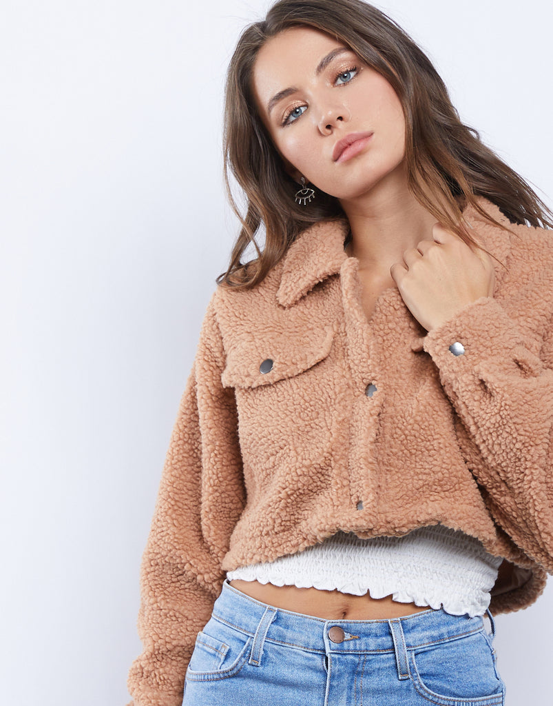 Cropped Button Up Sherpa Coat Outerwear -2020AVE
