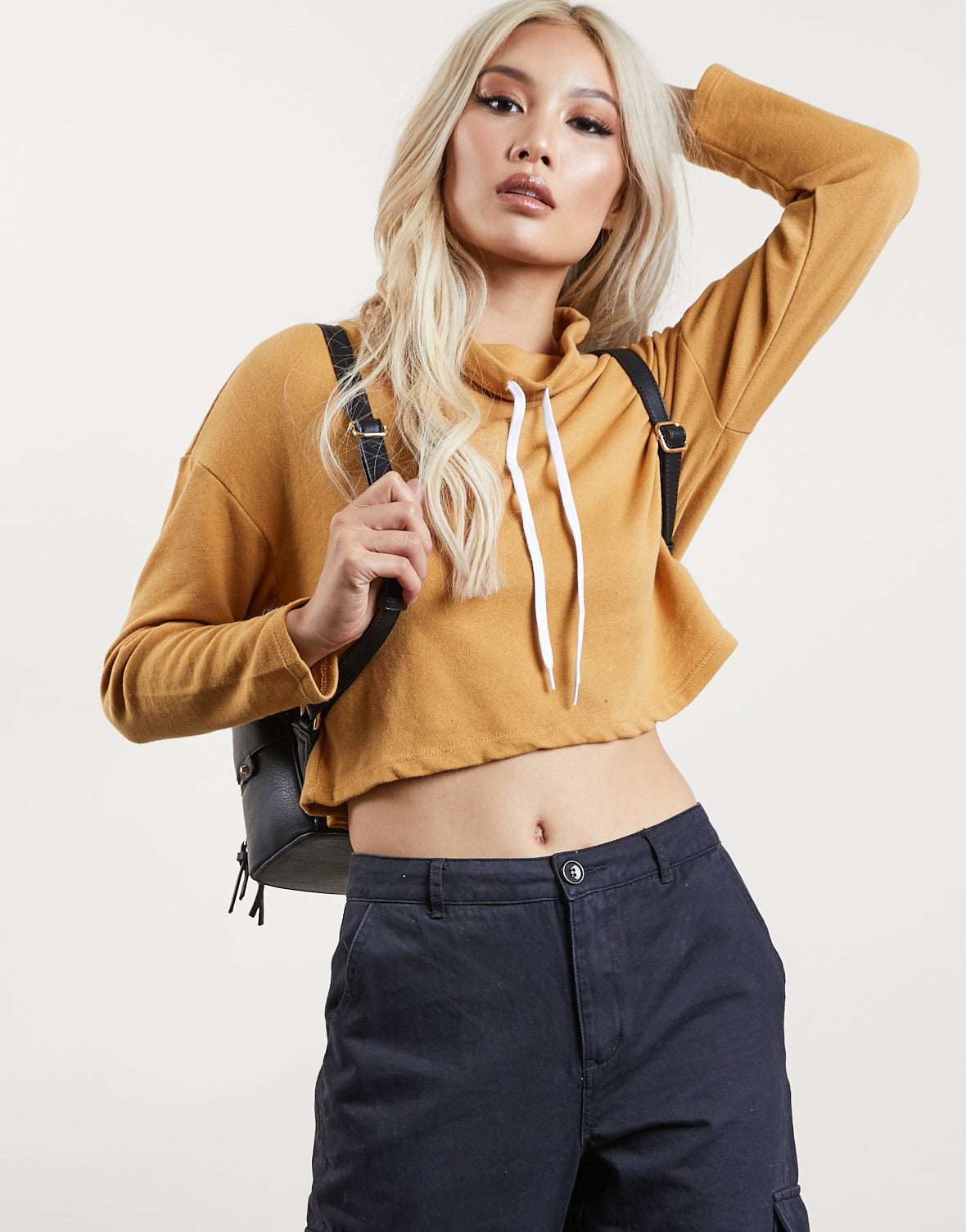 Cropped Funnel Neck Sweatshirt