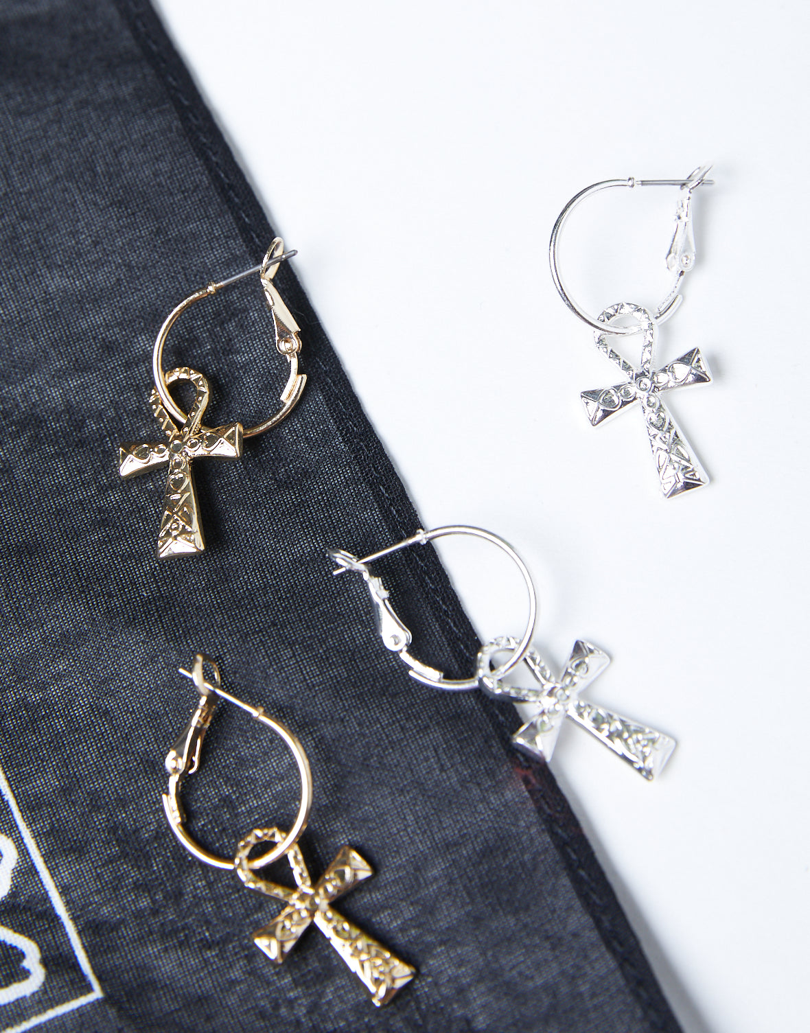 Cross Charm Hoop Earrings