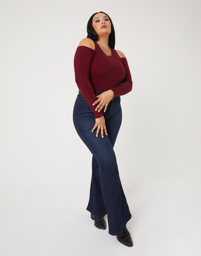 Curve 70s Girl Flared Jeans Plus Size Bottoms -2020AVE