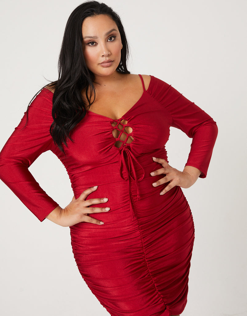 Curve Cold Shoulder Ruched Dress Plus Size Dresses Red 1XL -2020AVE