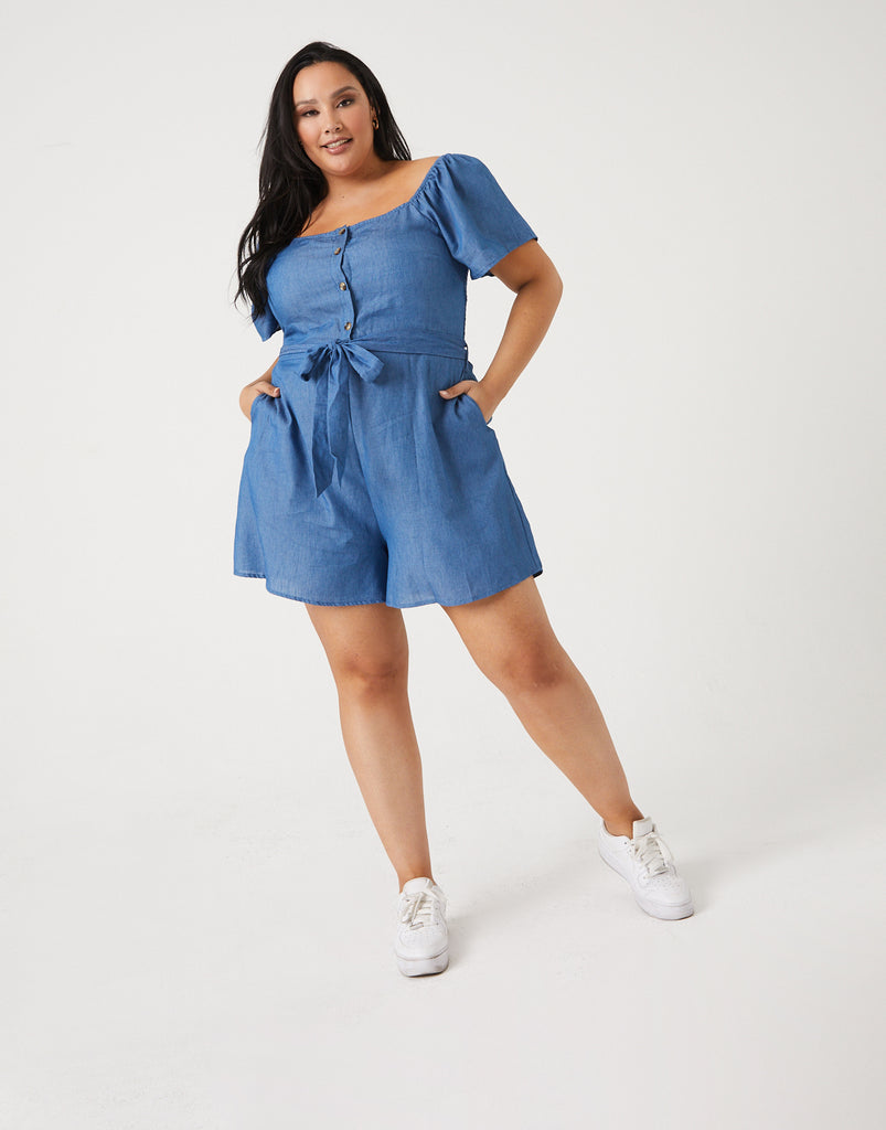 Curve Chambray Romper Plus Size Rompers + Jumpsuits -2020AVE