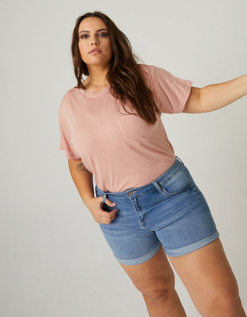 Curve Basic Pocket Tee Plus Size Tops -2020AVE
