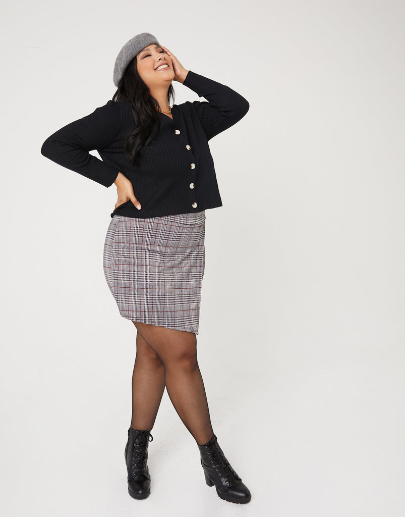 Curve Plaid Skort Plus Size Bottoms -2020AVE