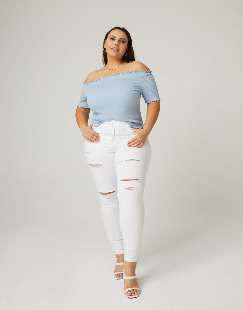 Curve High Rise Skinny Jeans Plus Size Bottoms White 14 -2020AVE