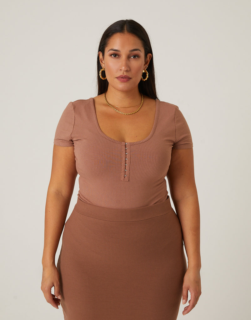 Curve Hook and Eye Top Plus Size Tops -2020AVE