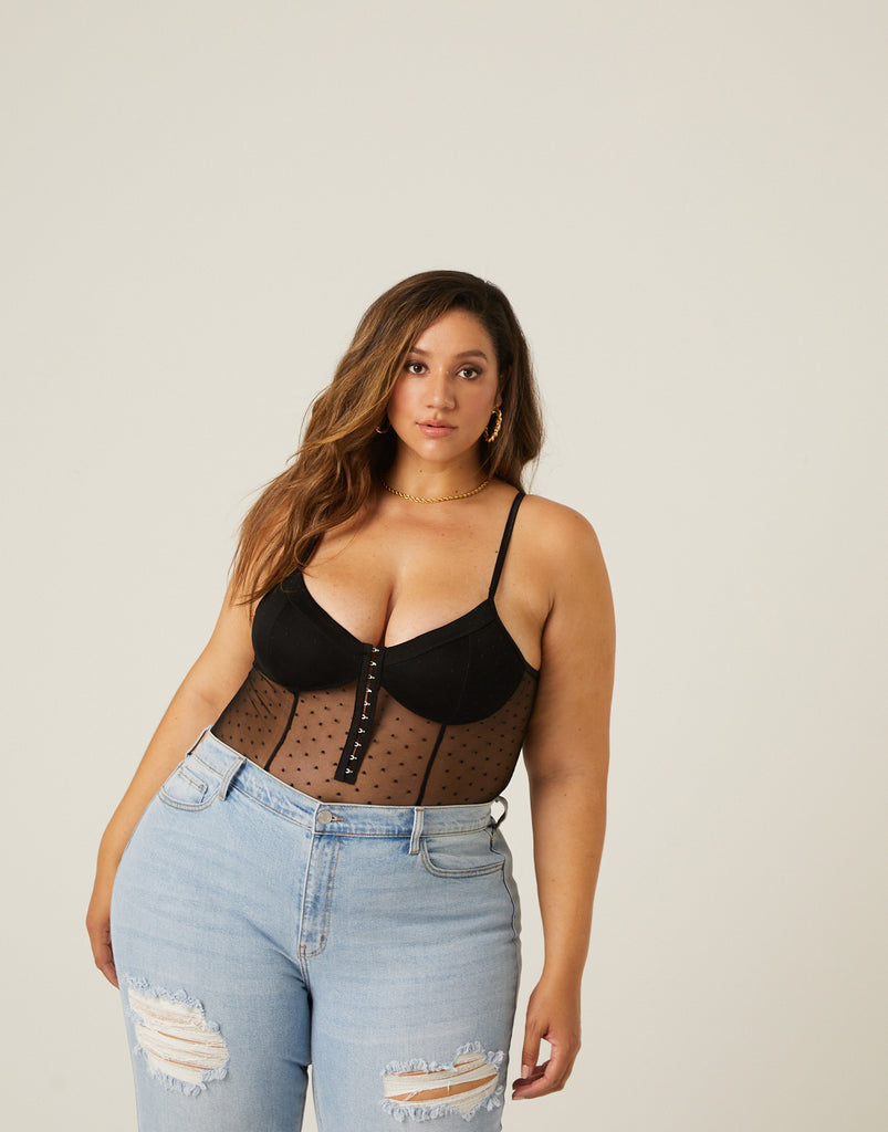 Curve Mesh Hook and Eye Bodysuit Plus Size Intimates -2020AVE