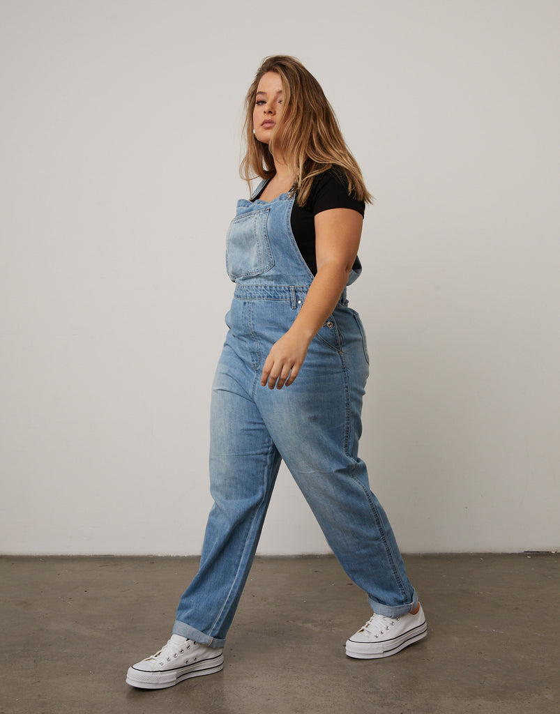 Curve Mom Jean Overalls Plus Size Rompers + Jumpsuits -2020AVE