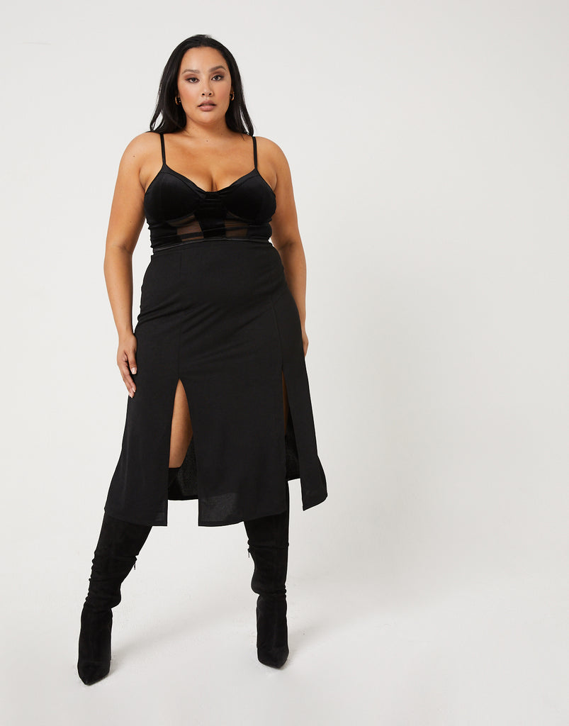 Curve High Slit Midi Skirt Plus Size Bottoms -2020AVE