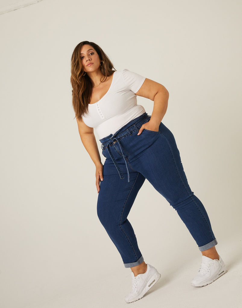 Curve Paper Bag Jeans Plus Size Bottoms -2020AVE