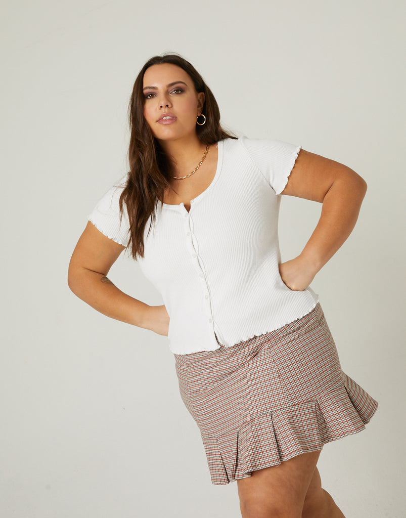 Curve Pleated Hem Skirt Plus Size Bottoms -2020AVE