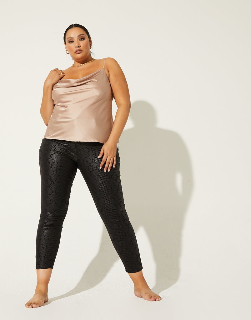 Curve Prima Donna Satin Tank Plus Size Tops Taupe 1XL -2020AVE