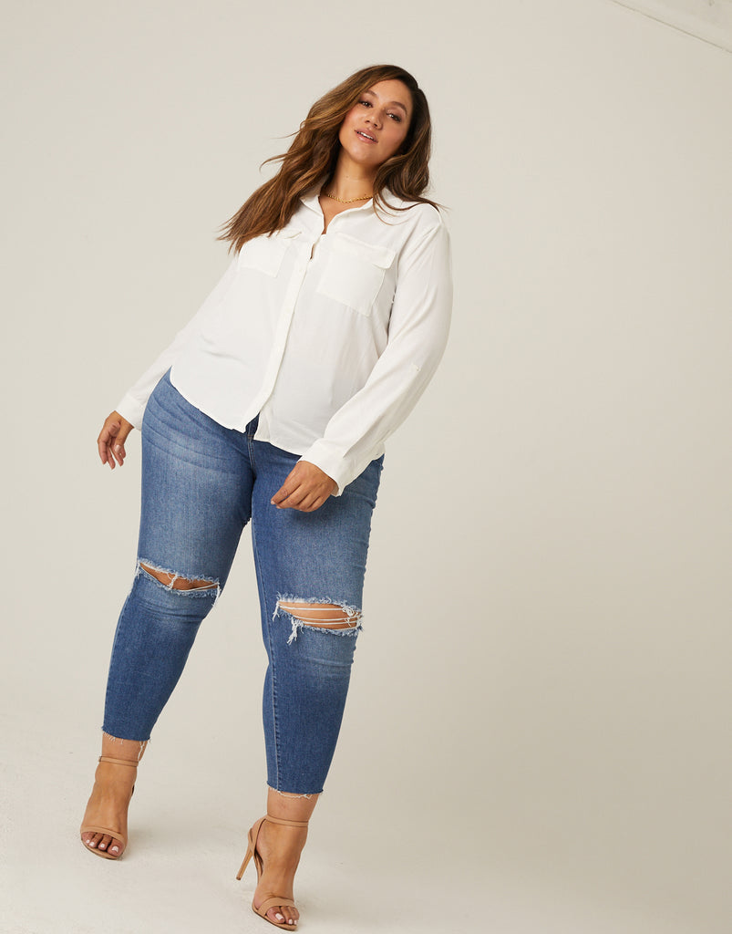 Curve Relaxed Button Up Shirt Plus Size Tops -2020AVE