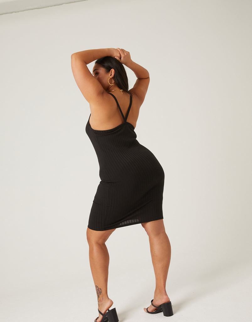 Curve Ribbed Mini Dress Plus Size Dresses -2020AVE