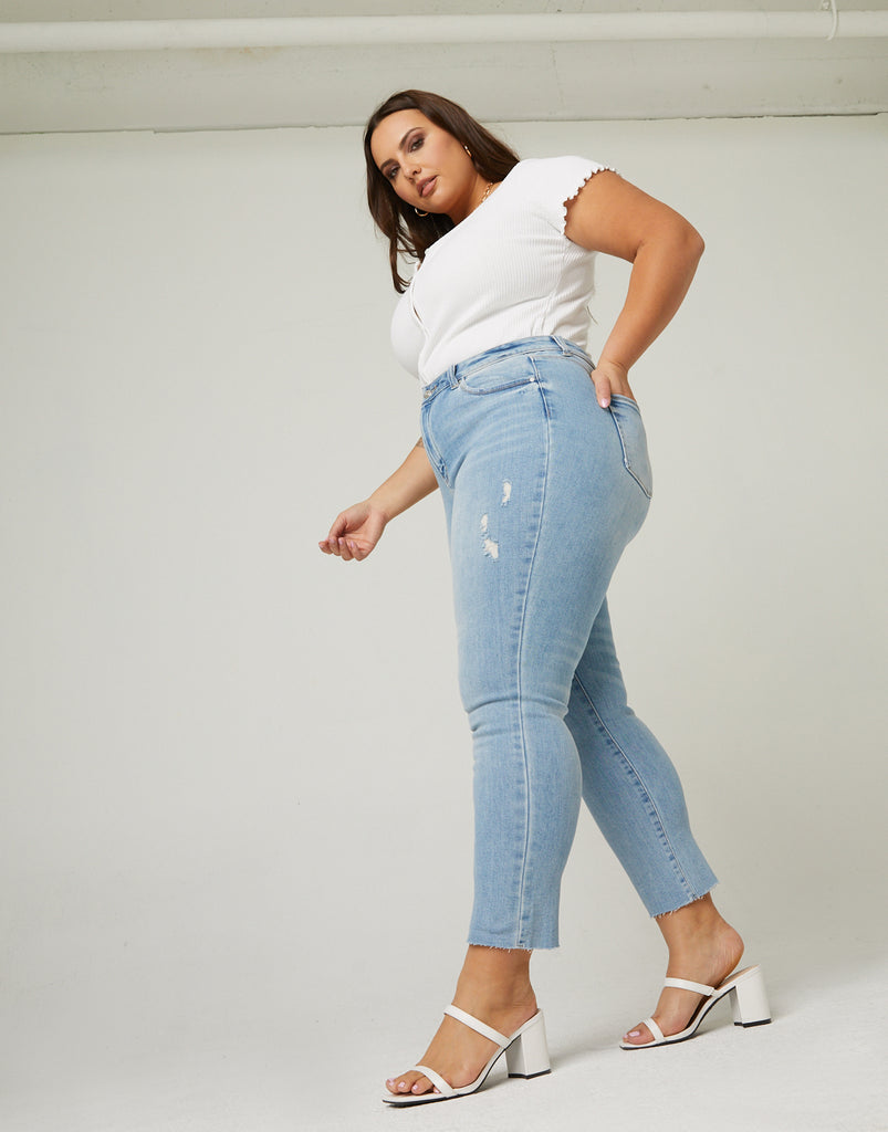 Curve Slim Straight Jeans Plus Size Bottoms Light Blue 14 -2020AVE