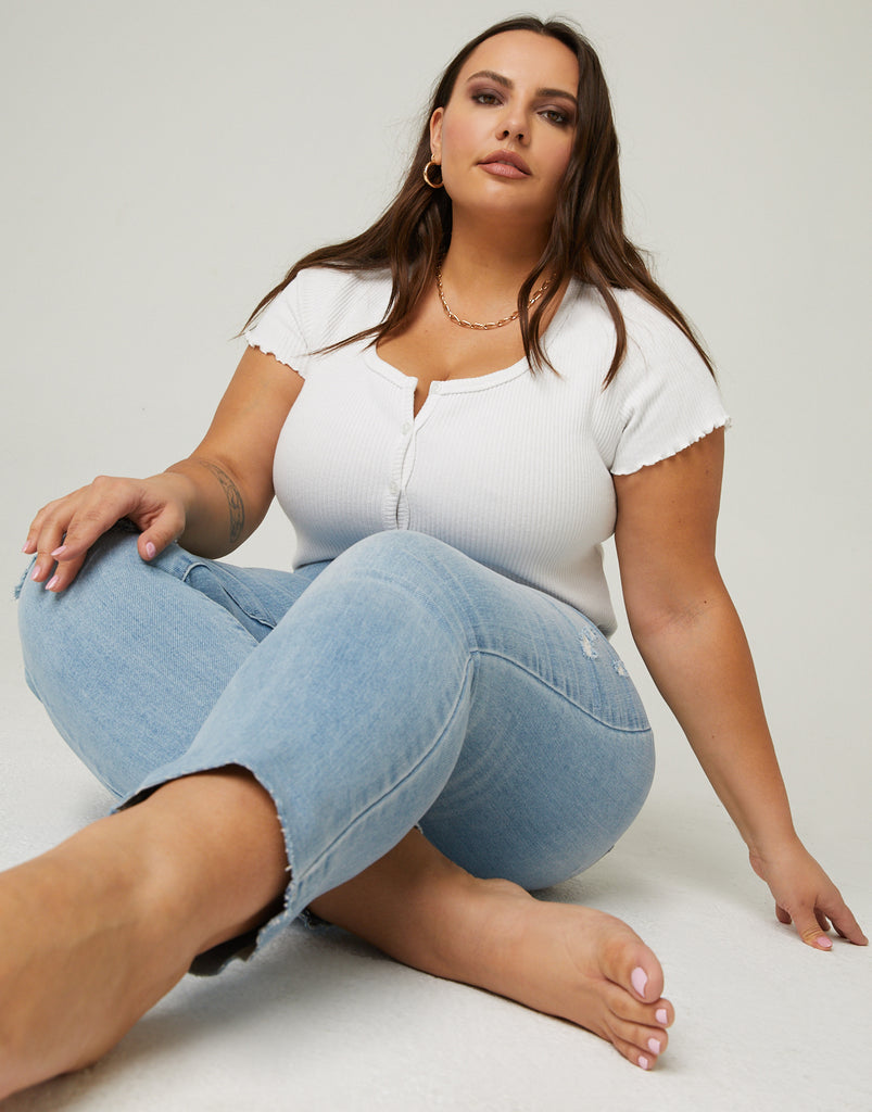 Curve Slim Straight Jeans Plus Size Bottoms -2020AVE