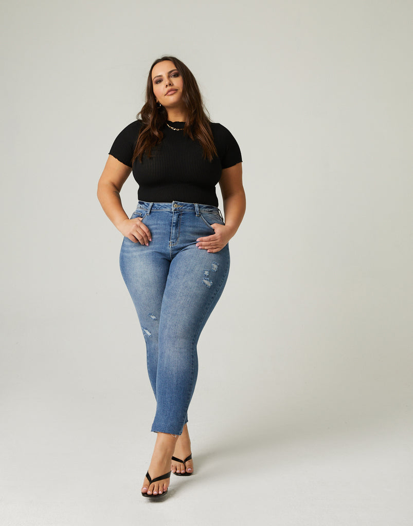Curve Slim Straight Jeans Plus Size Bottoms Medium Blue 14 -2020AVE