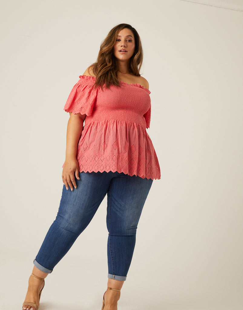 Curve Smocked Eyelet Lace Top Plus Size Tops -2020AVE
