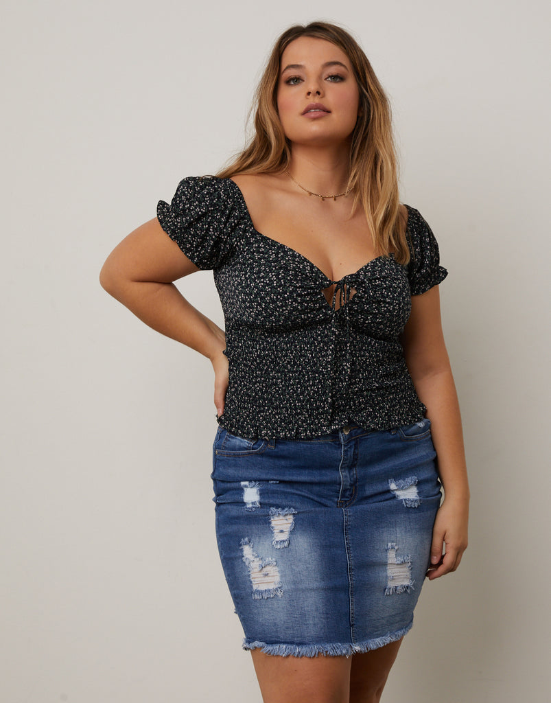 Curve Smocked Floral Top Plus Size Tops -2020AVE