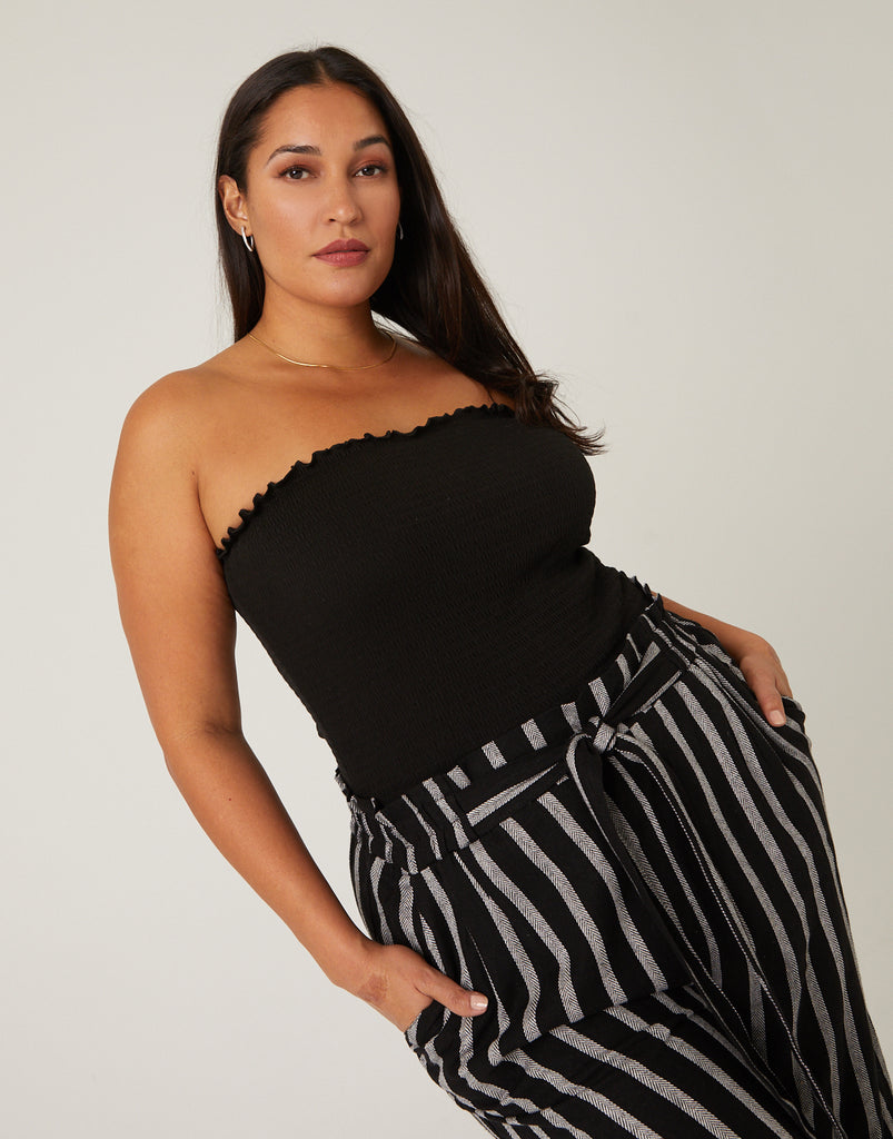 Curve Smocked Tube Top Plus Size Tops -2020AVE