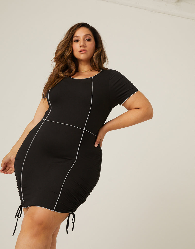 Curve Statement Seams Dress Plus Size Dresses -2020AVE