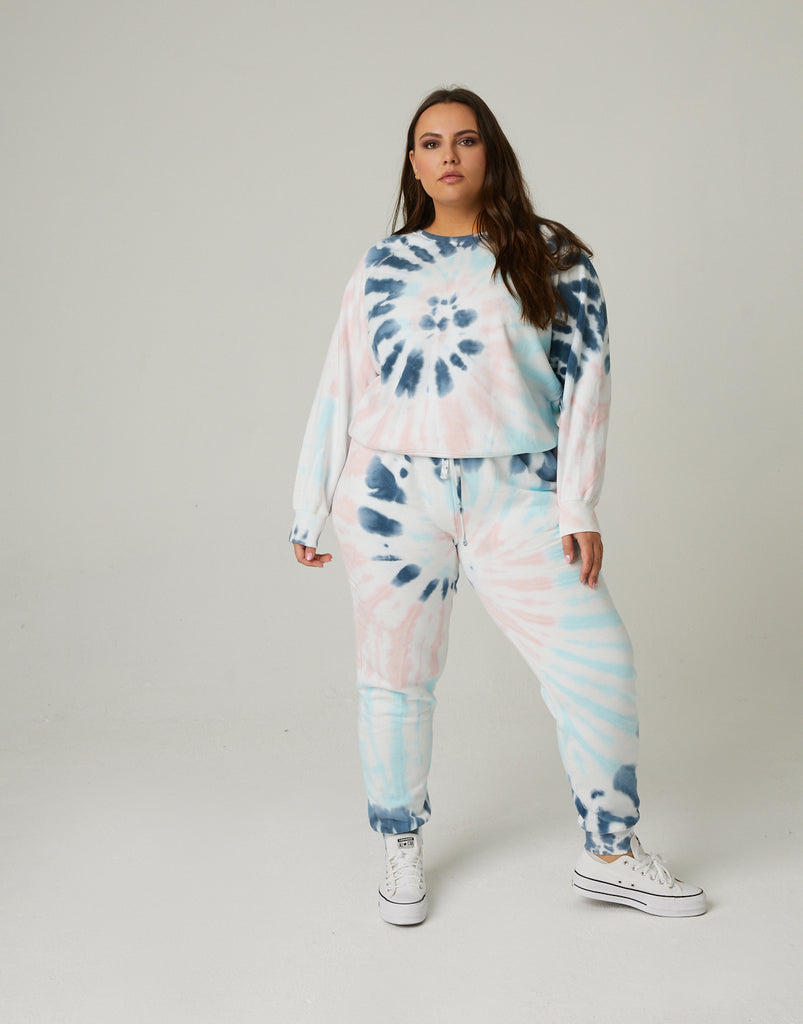 Curve Tie Dye Loungewear Set Plus Size Matching Sets -2020AVE