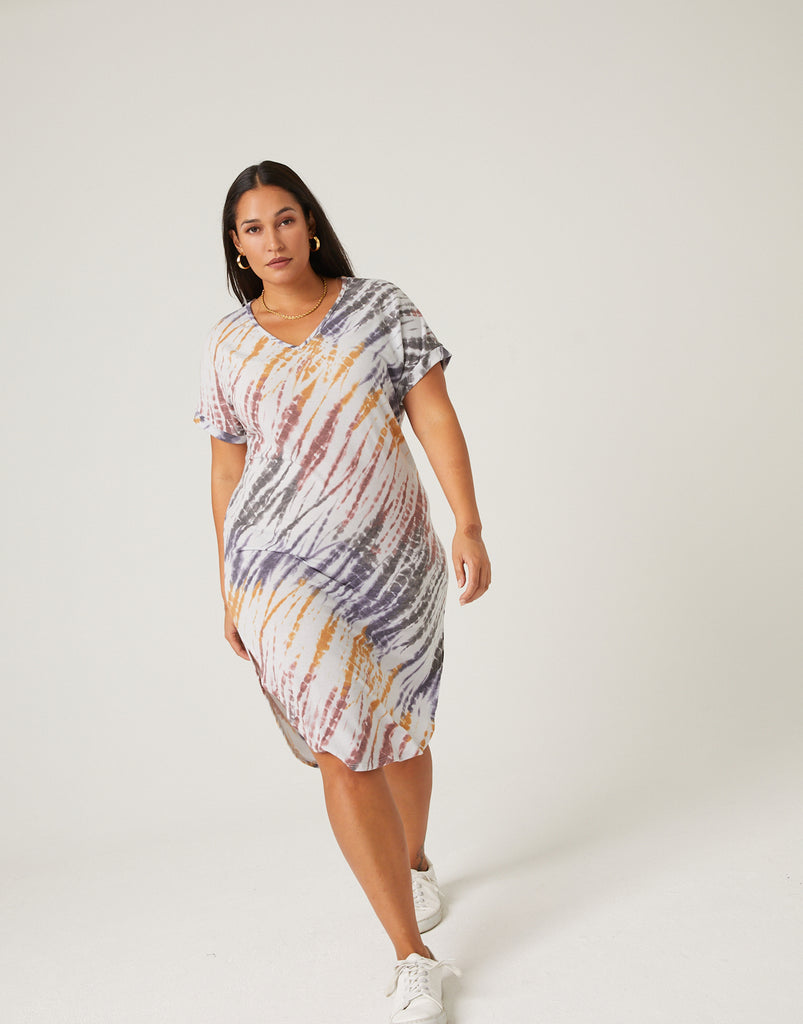 Curve Tie Dye T-Shirt Dress Dresses -2020AVE