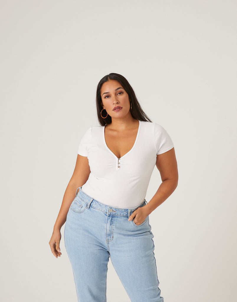 Curve V-Neck Button Tee Plus Size Tops -2020AVE